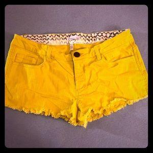 Yellow Fringe Jean Shorts